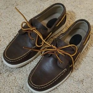 G.H. Bass Dark Brown Leather boat shoes